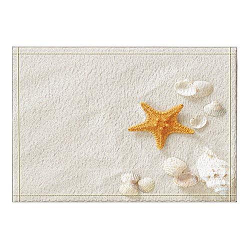 Aliyz Mariscos y Estrellas de mar en Las alfombras de baño de Playa Blanca, Alfombras de baño Antideslizantes de Felpudo Frente Exterior Exterior