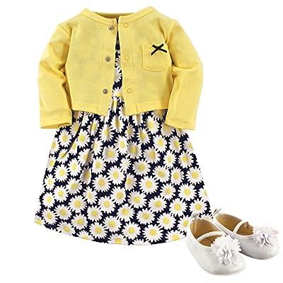 Hudson Baby Girls' Cotton Dress, Cardigan and Shoe Set, Daisy, 9-12 Months