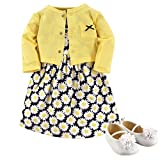 Hudson Baby Girls' Cotton Dress, Cardigan and Shoe Set, Daisy, 6-9 Months