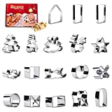 3D Christmas Cookie Cutter, 18 Pcs Stainless Steel Star Shaped Fondant Christmas Tree Cutting Tool,House, Snowman, Sleigh, Elk Pastry Biscuit Cake Baking Mold for Christmas and New Year Family Party