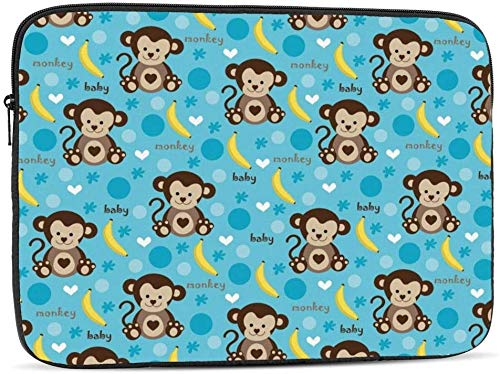 Cute Cartoon Mexican Taco Laptop Sleeve Bag Compatible con 10-17 Inch Classic Computer Bag Laptop Case-Cute Baby Monkey and Banana , 10inch