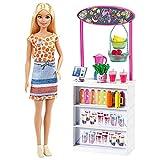 Barbie Puesto de Smoothies Muñeca rubia con accesorios y tienda para hacer zumos y batidos de juguete Mattel GRN75