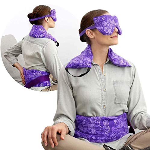 Hot Pockets Set of 3 Rice Heating pad microwavable - Includes Heating Pads for Back Pain + Heating pad for Neck and Shoulders + Lavender Eye Pillow for Stress Relief (Purple Flowers)