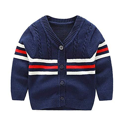 XIAOHAWANG - chamarra de punto para bebé con botones y algodón orgánico para recién nacido, C-azul marino , 18 meses