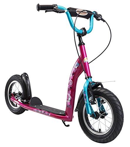 BIKESTAR Roller Kinderroller Tretroller Kickscooter mit Luftreifen für Mädchen ab 6-7 Jahre | 12 Zoll Sport Kinder Scooter | Berry & Türkis | Risikofrei Testen