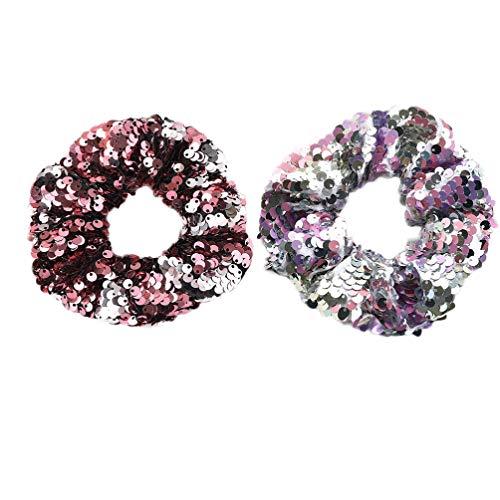 Lurrose Glitter haarelastiekjes haarelastiekjes glitter glanzende pailletten haarring voor vrouwen dames 2 stuks (1 stuk zwart en 1 stuk zeeblauw) 2 Stück Roze, wit, veelkleurig.
