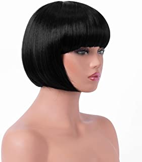 BESTUNG Short Straight Bob Hair Wigs with Flat Bangs for Women Black Synthetic Heat Resistant Cosplay Party Costume Hair Wig