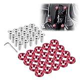 Enmoo 20 piezas Billet aluminio guardabarros parachoques arandela perno motor bahía kit de sujetadores para decoración de matrículas pernos M6 accesorios de tornillo (Rojo)