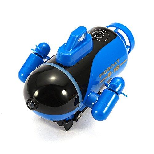 KINGDUO Mini Micro Radio Control Remoto RC Sub Barco Submarino Explorador De Carreras Juguetes Regalo-Azul