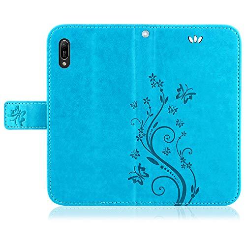 betterfon   Flower Case Handytasche Schutzhülle Blumen Klapptasche Handyhülle Handy Schale für Huawei Y6 2019 Blau