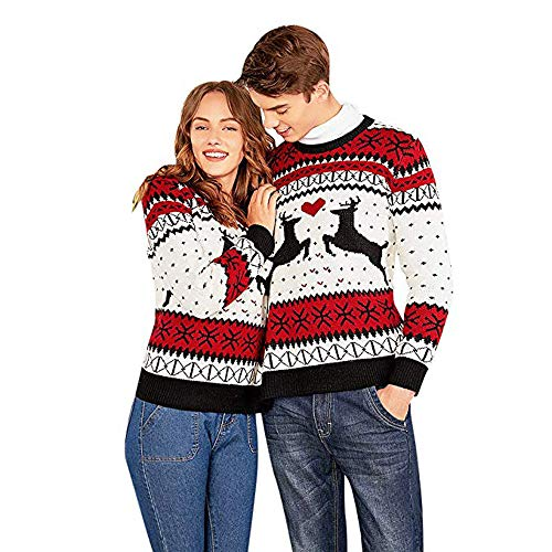 DEELIN Dos Persona Suéter De Navidad Parejas Jersey Novedad Camiseta