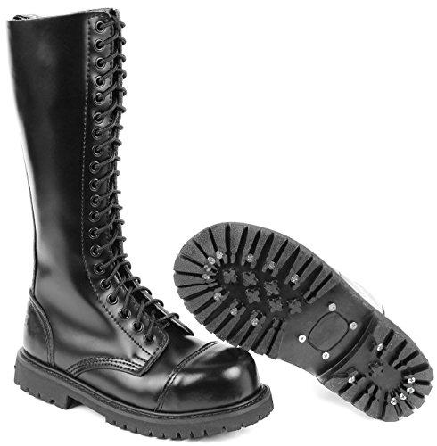 20 Loch UK Gothic Boots Springerstiefel 5,Schwarz