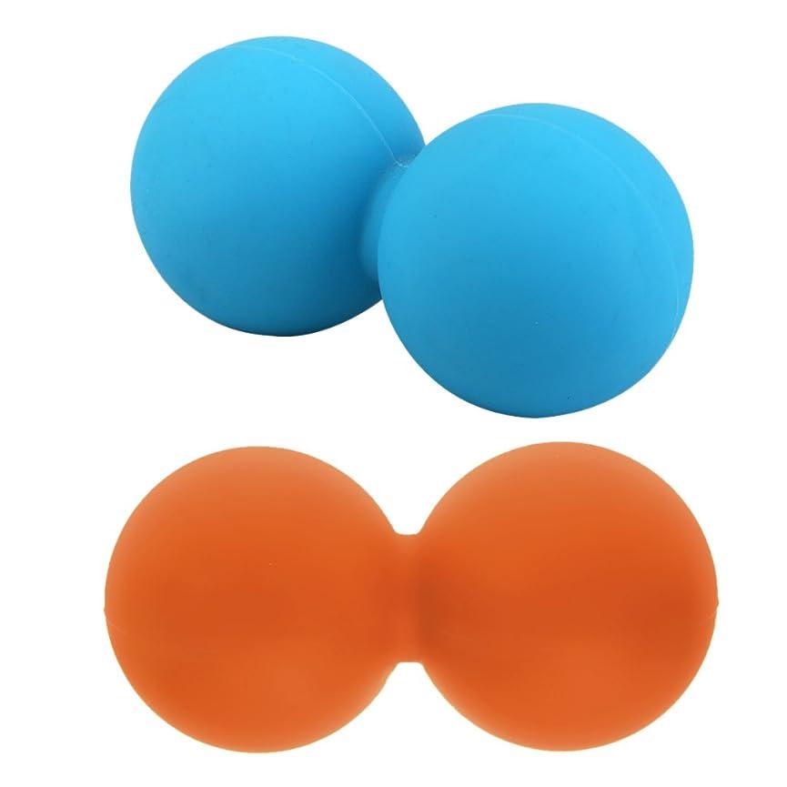 蛾ハドルスキーHellery 2本 マッサージボール ピーナッツボール シリコン フィットネス ヨガ 触覚ボール 筋膜リリース
