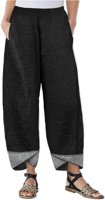 KOPLTYRFG Cotton Linen Capris Pants for Women High Waisted Wide Leg Trousers Casual Loose Plus Size Pant