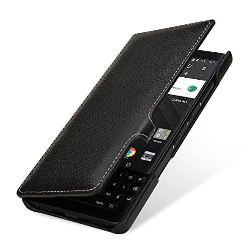 StilGut Book Type Lederhülle für BlackBerry Key2. Seitlich klappbares Flip-Hülle aus Echtleder, Schwarz mit Clip