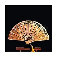 22cm Thuja木製ファンマスコット装飾品折りたたみファンウッド彫刻風水工芸品コレクションラッキーギフト家の装飾 (色 : D)