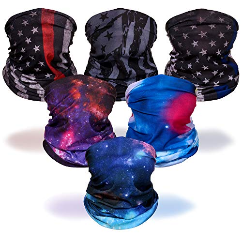 Seamless Neck Gaiter Warm Reusable Magic Scarf Mask Sun UV Protection for Sport&Outdoor, Motorcycle,Fishing (Galaxy and flag(6 Pcs))