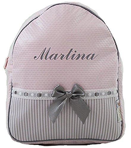 Der Rucksack, der Schulrazen, der Schultasche oder Kindergartentasche mit der Name personalisiert. Der Modell: Noa. Verfügbar in mehrere Farbene (Rosa/Grau)