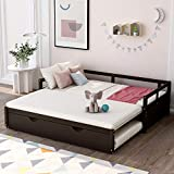 Wood Daybed with Roll Out Trundle Bed for Kids Teens Adult Extending Sofa Bed Frame with Wooden Slats Support for Small Space, Convertible Twin to King Size Design, No Box Spring Needed (Espresso)