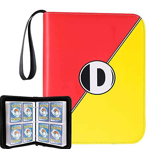D DACCKIT 4-Pocket Binder for Pokemon Cards, 400 Pockets Collecting Album with Removable Sleeves, Trading Card Display Storage Case for Yugioh, MTG and Other TCG(Red & Yellow)
