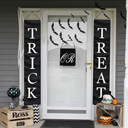 Funiee 3Pcs Trick Or Treat Halloween Banner Outdoor, Halloween Hanging Sign for Home Office Porch Front Door Halloween Decorations