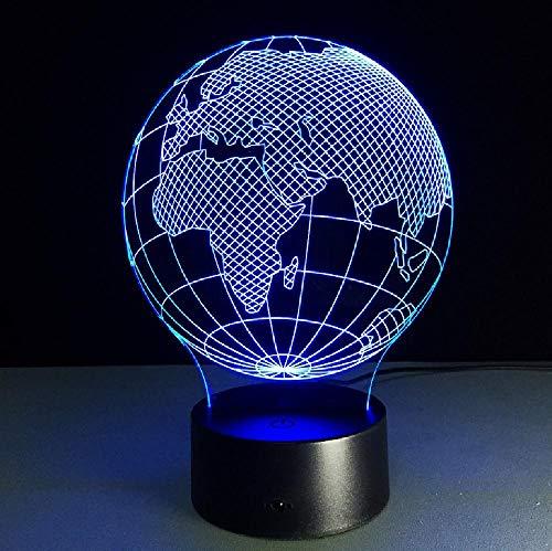 Europa en Afrika wereldkaart visuele 3D-led-lampverlichting voor thuis of op kantoor, decoratief bureau, tafellampprojectie, kid nachtlampjes, bluetooth-besturingskleur voor de externe telefoon