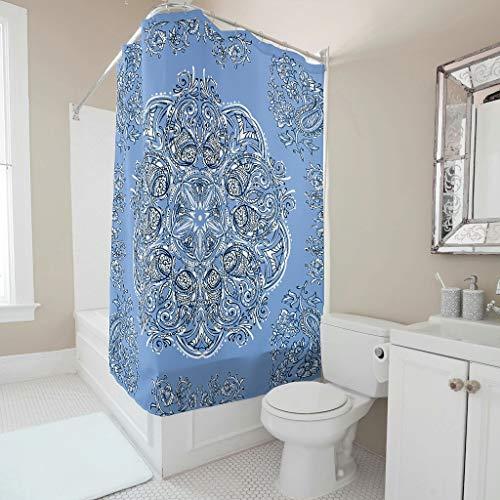 XJJ88 CornflowerBlue Mandala patronen gedrukt douchegordijn Vintage Roestvrij bad gordijn ringen inbegrepen - voor thuis