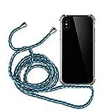 MyGadget Funda con Cuerda para Apple iPhone X/XS - Carcasa Transparente en Silicona TPU con Cordón - Case y Correa Colgante Ajustable - Azul Camuflaje