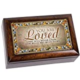 Love You Much Amber Earth Tone Jeweled Petite Music Box Plays You Light Up My Life