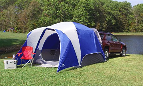 Spacious and Durable Ozark Trail 5-Person SUV Tent,With Media and Multiple Storage Pockets,Attached Mud Mat,Roll-Back Rainfly,Perfect for Camping,Backpacking,Family Outings,Group Events,Picnics