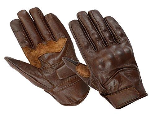 Guantes de moto con certificación CE 100%, de piel refinada, ideal para patinete y motocicletas, color marrón