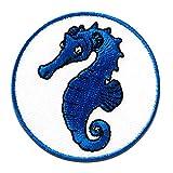Sea Horse caballito de mar animal - Parches termoadhesivos bordados aplique para ropa, tamaño: 3,5 x 3,5 cm