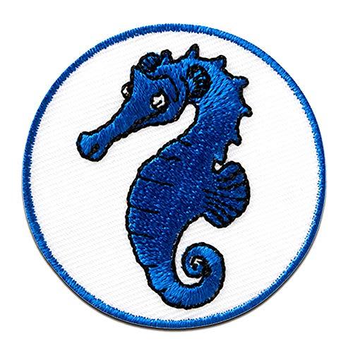 Seepferd Seepferdchen Tier - Aufnäher, Bügelbild, Aufbügler, Applikationen, Patches, Flicken, zum aufbügeln, Größe: Ø 3,5 cm