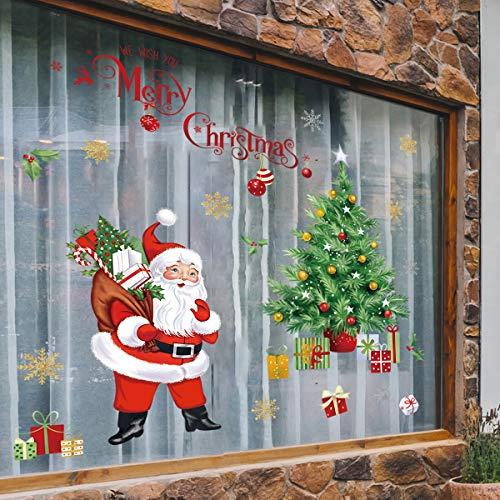 Decalmile Pegatinas De Pared Navidad Ventana Vinilos Decorativos Árbol De Navidad Papá Noel Adhesivos Pared Ventanas Puerta Tienda Escaparate Navidad Decoración