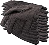 ABC Pack of 24 Brown Jersey Gloves for Men 10'. Reusable Washable Glove with Elastic Knit Wrist. Cotton Polyester Gloves. Plain Breathable Gloves. Protective Industrial Work Gloves. Men's size.