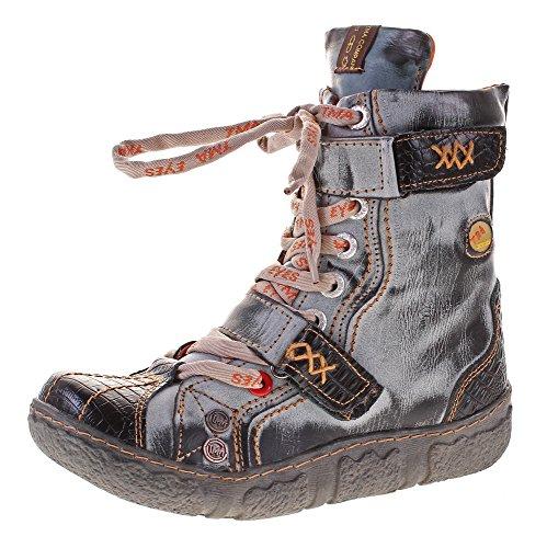 TMA Damen Leder Winter Comfort Stiefeletten Reptil Print gefüttert echt Leder Schuhe 7087 Schwarz Grau Gr. 37