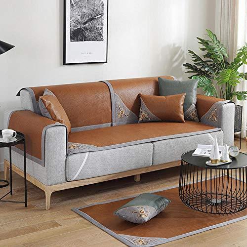 B/H Fundas de sofá de Esquina,Funda de sofá Antideslizante, Funda de sofá de Color sólido-Coffee Color_60 * 180cm,Asiento Antideslizante sofá Funda Tejido