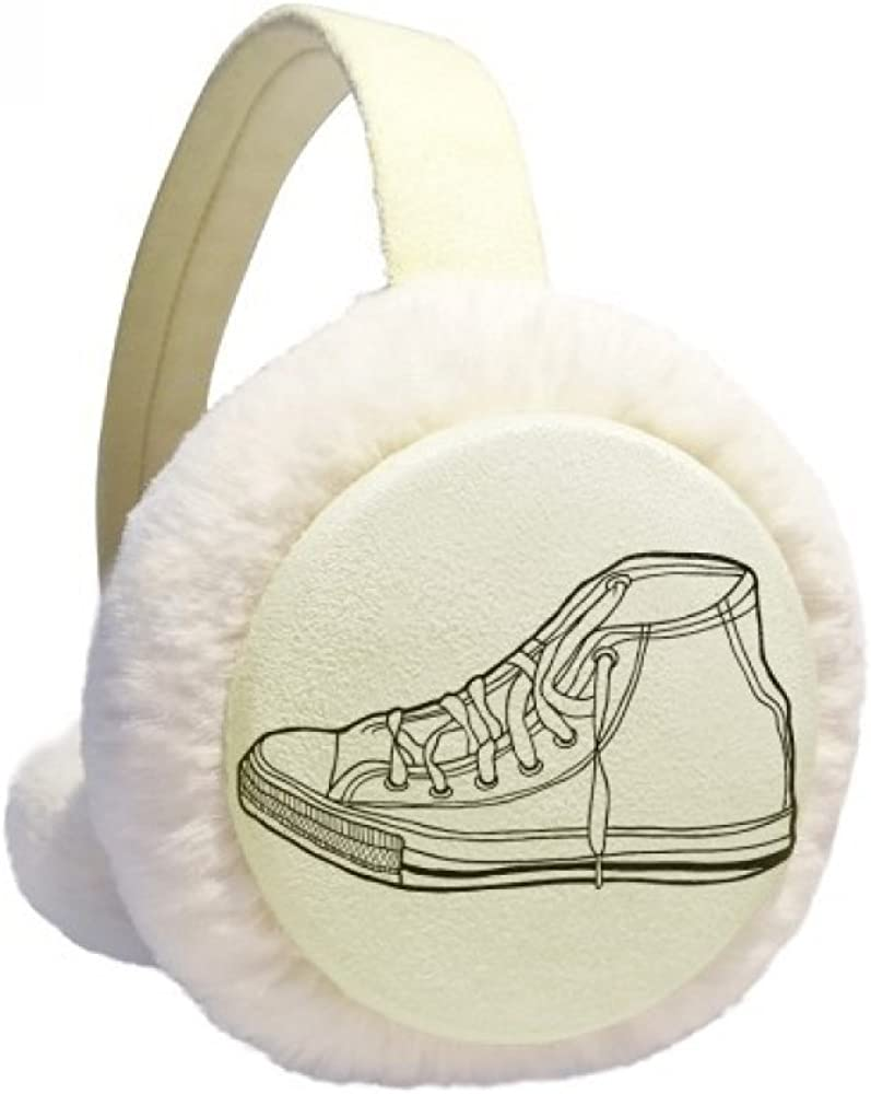 Very At the price popular White Canvas Shoes Hand Painted Pattern Ear Winter Warmer Cable