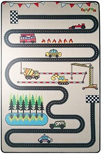 TAPITOM® | Tapis Enfant Route Design - 130 x 200 cm | Tapis de Jeux Circuit | Tapis de Sol pour Chambre d'enfant Route pour Petites Voitures | antidérapant, Ourlet…