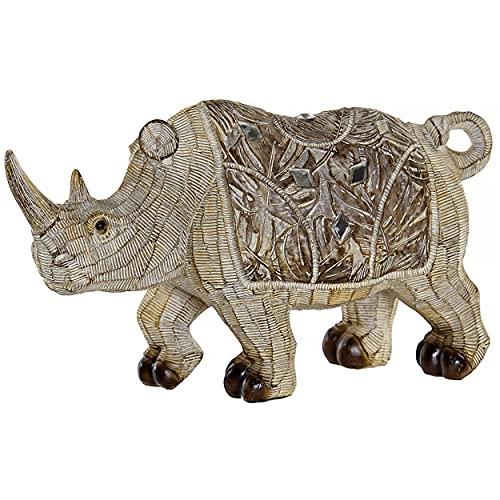 HOGAR Y MAS Figura Decorativa Rinoceronte Resina, con Diamantes, Acabado Madera, Figura Decorativa Rinoceronte Africano 21,5x6,5x12cm