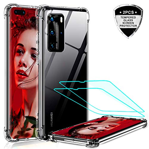 LeYiCase forHuawei P40 Pro Phone Case with Tempered Glass Screen Protector [2 Pack], Crystal Clear Military Grade Thin Air Cushion Full Body Shockproof Silicone Hard PC Cover forHuawei P40 Pro