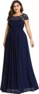 Alisapan Womens Lace Cap Sleeve Plus Size Long Formal Evening Gowns Prom Dresses 99931