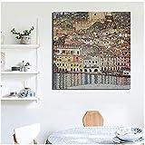 dubdubd Gustav Klimt Lago de Garda Arte de la Pared Carteles de Lienzo Cuadros de Pared para Sala de Estar Decoración del hogarObra de Arte-60x60cm Sin Marco