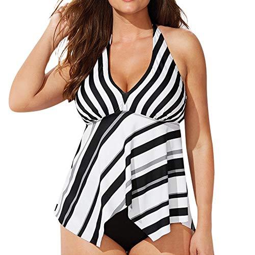 Women's Two Piece Swimdress Irregular Plus Size Tankini Asymmetry Swimsuit Halter Swimwear Sling Bathing Suit