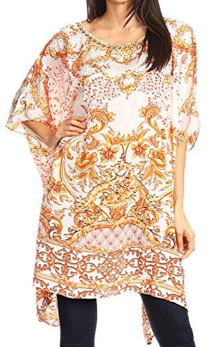 Sakkas 1077 - Sira Femmes Casual Pull lâche Pull mi-Long surdimensionné Tunique Haut - ORW237-blanc - OS