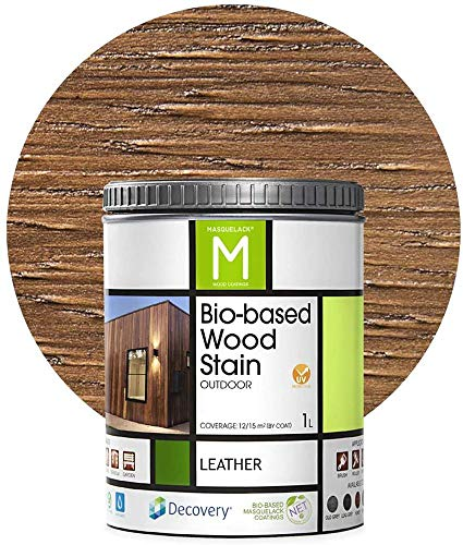Vernis pour bois extérieur | Bio-based Wood Stain | 1 L | Vernis écologique Pour tous les types de bois | Lasure bois extérieur | Cuir Couleur | Résistant à l'eau et à la moisissure