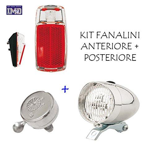 KIT Fanale Luce Anteriore + Fanale Posteriore a LED + CAMPANELLO ideale bicicletta Olanda - R - Graziella - Vintage - City Bike - Uomo / Donna - BATTERIE INCLUSE