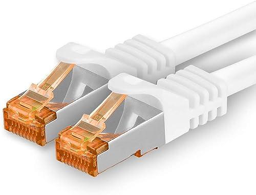 1aTTack.de 5m - Câble réseau Cat.7 1 pièce Blanche Câble LAN Ethernet Gigabit 10000 Mbit s Câble Patch Cat7 Câble S F...