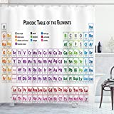 Ambesonne Science Shower Curtain, Chemistry Primary School Students Geek Nerd Lessons Classes Smart Kids Art Print, Cloth Fabric Bathroom Decor Set with Hooks, 75' Long, White Purple