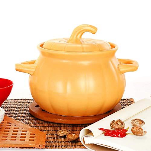 LIUSHI Heat-Resistant Open Flame Stockpot Soup Pot with Lid Saucepan for Slow Cooking,Pumpkin Shape Ceramic Casserole Dish Yellow 4quart